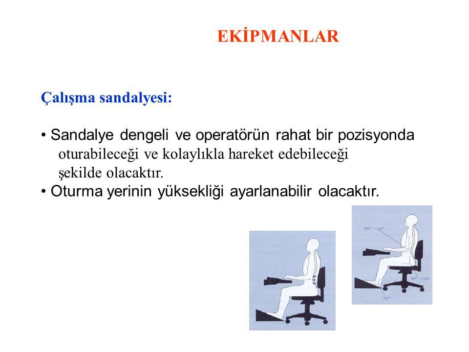 EKİPMANLAR Çalışma sandalyesi: Sandalye dengeli ve operatörün rahat bir pozisyonda oturabileceği ve kolaylıkla hareket edebileceği şekilde olacaktır.