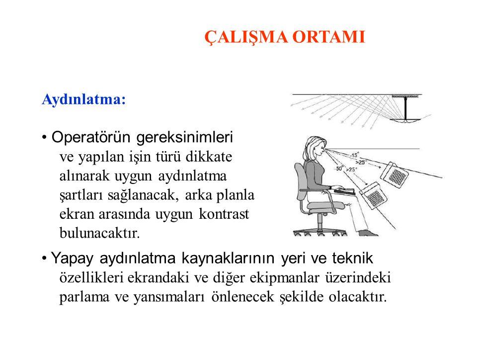 ÇALIŞMA ORTAMI Aydınlatma: Operatörün gereksinimleri ve yapılan işin türü dikkate alınarak uygun aydınlatma şartları sağlanacak, arka planla ekran ara