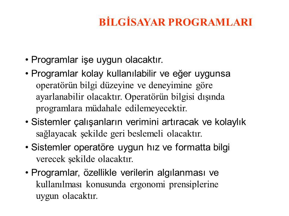 BİLGİSAYAR PROGRAMLARI Programlar işe uygun olacaktır. Programlar kolay kullanılabilir ve eğer uygunsa operatörün bilgi düzeyine ve deneyimine göre ay