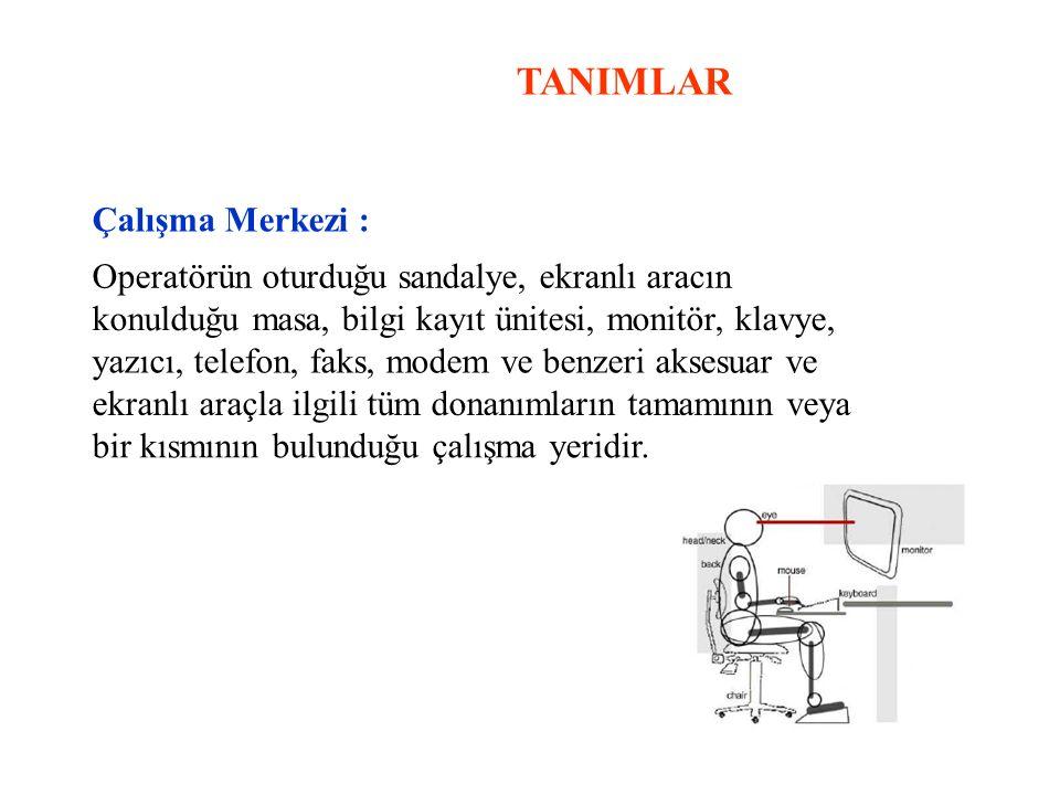 TANIMLAR Çalışma Merkezi : Operatörün oturduğu sandalye, ekranlı aracın konulduğu masa, bilgi kayıt ünitesi, monitör, klavye, yazıcı, telefon, faks, m