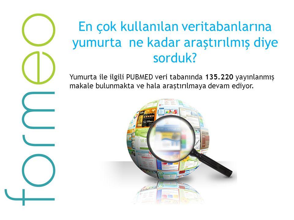 En çok kullanılan veritabanlarına yumurta ne kadar araştırılmış diye sorduk? Yumurta ile ilgili PUBMED veri tabanında 135.220 yayınlanmış makale bulun