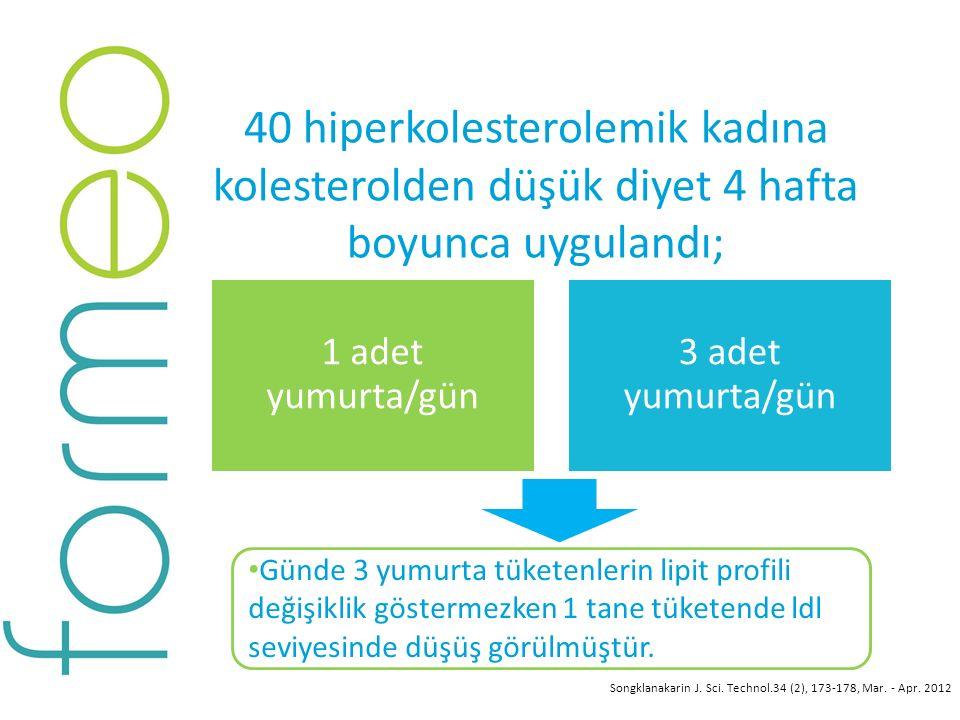 40 hiperkolesterolemik kadına kolesterolden düşük diyet 4 hafta boyunca uygulandı; Günde 3 yumurta tüketenlerin lipit profili değişiklik göstermezken