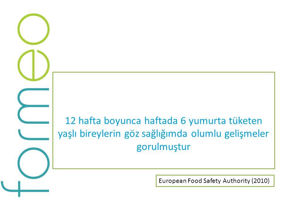 12 hafta boyunca haftada 6 yumurta tüketen yaşlı bireylerin göz sağlığımda olumlu gelişmeler gorulmuştur European Food Safety Authority (2010)