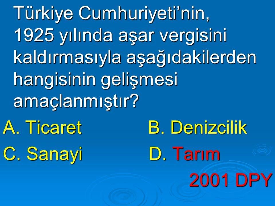 Türkiye Cumhuriyeti'nin, 1925 yılında aşar vergisini kaldırmasıyla aşağıdakilerden hangisinin gelişmesi amaçlanmıştır? Türkiye Cumhuriyeti'nin, 1925 y