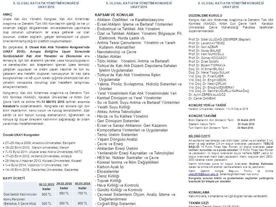 8. ULUSAL KATI ATIK YÖNETİMİ KONGRESİ UKAY 2016 AMAÇ Ulusal Katı Atık Yönetimi Kongresi, Katı Atık Kirlenmesi Araştırma ve Denetimi Türk Milli Komites