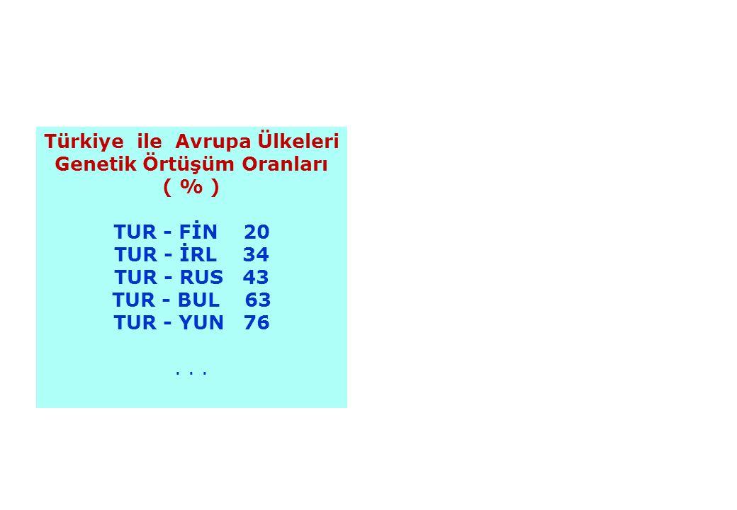 11.12.201529 Türkiye ile Avrupa Ülkeleri Genetik Örtüşüm Oranları ( % ) TUR - FİN 20 TUR - İRL 34 TUR - RUS 43 TUR - BUL 63 TUR - YUN 76...