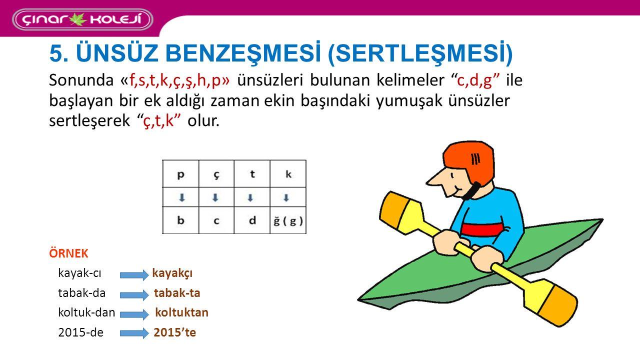 """5. ÜNSÜZ BENZEŞMESİ (SERTLEŞMESİ) Sonunda «f,s,t,k,ç,ş,h,p» ünsüzleri bulunan kelimeler """"c,d,g"""" ile başlayan bir ek aldığı zaman ekin başındaki yumuşa"""