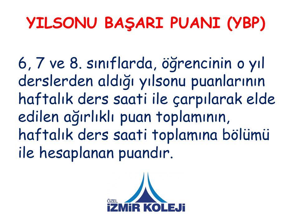 YILSONU BAŞARI PUANI (YBP) 6, 7 ve 8.