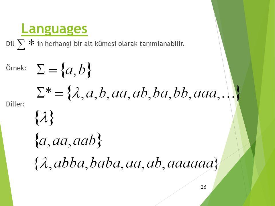 Languages Dil ' in herhangi bir alt kümesi olarak tanımlanabilir. Örnek: Diller: 26