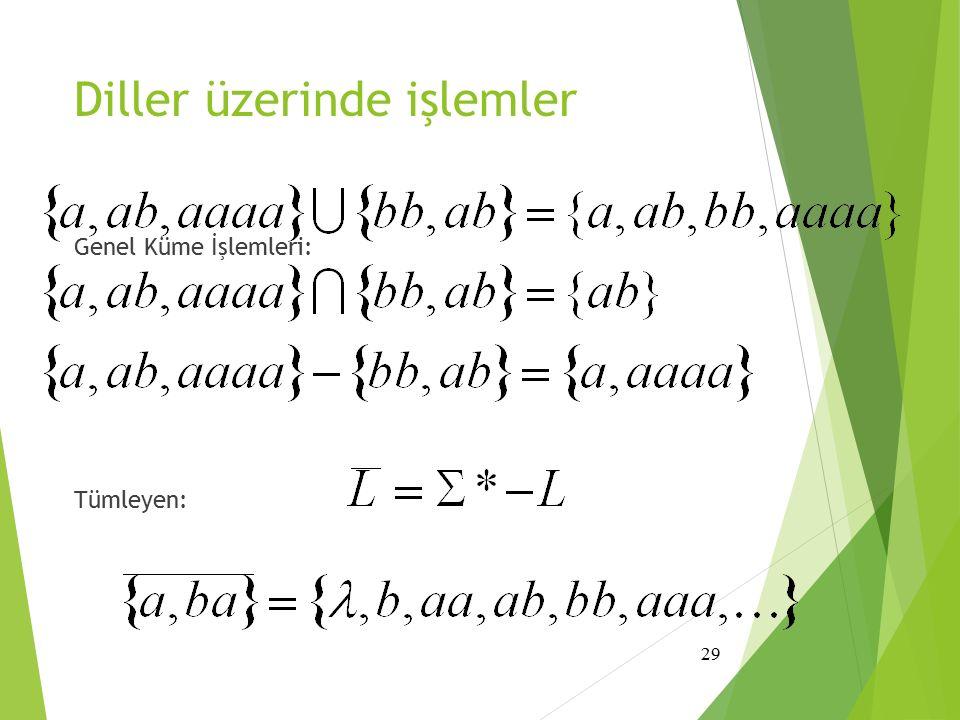 Diller üzerinde işlemler Genel Küme İşlemleri: Tümleyen: 29