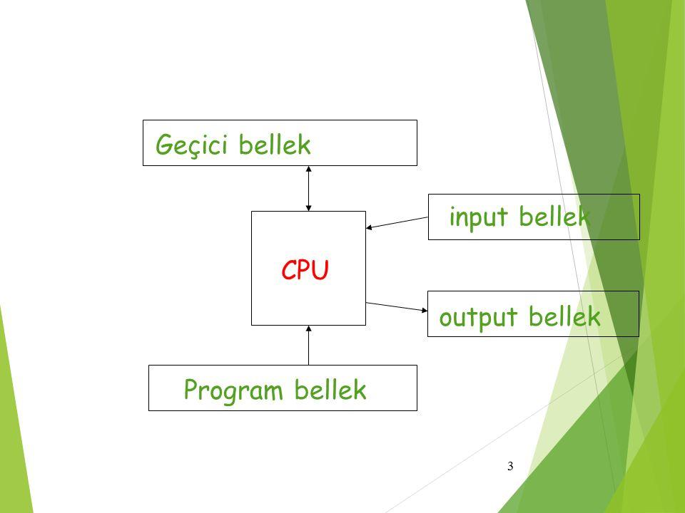 3 CPU input bellek output bellek Program bellek Geçici bellek