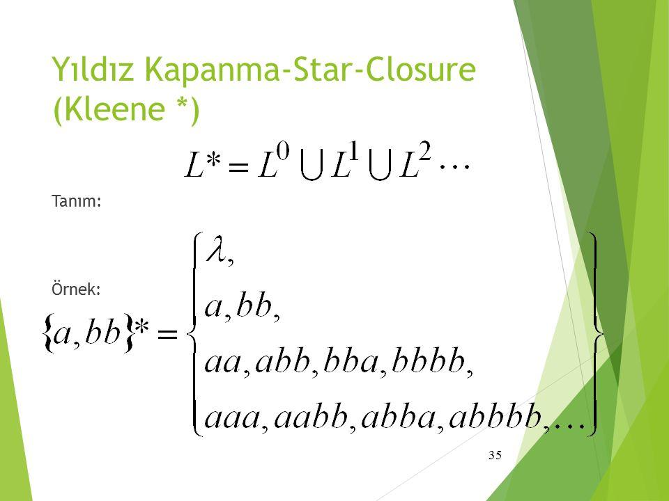 Yıldız Kapanma-Star-Closure (Kleene *) Tanım: Örnek: 35