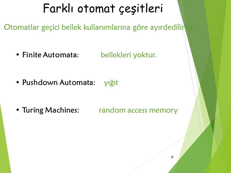 9 Farklı otomat çeşitleri Otomatlar geçici bellek kullanımlarına göre ayırdedilirler Finite Automata: bellekleri yoktur. Pushdown Automata: yığıt Turi