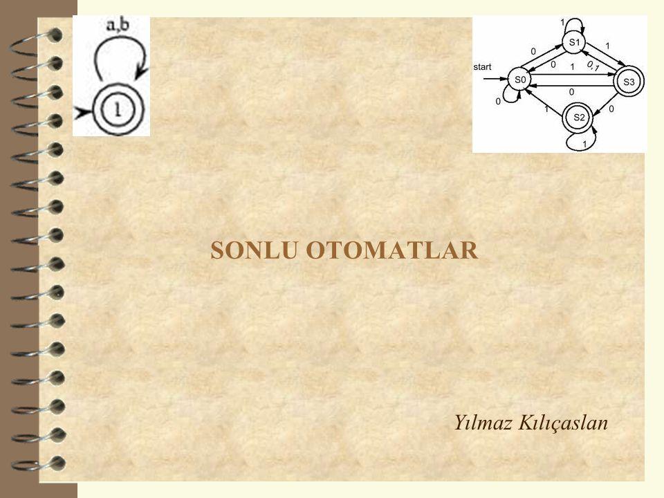 Deterministik Sonlu Otomatlar 12  Sonlu otomatlar, bir beşli olarak tanımlanır: DFA = Q : Sonlu sayıda durum içeren Durumlar Kümesi Σ : Sonlu sayıda giriş simgesinden oluşan Giriş Alfabesi q 0 : Başlangıç durumu (q 0 Q) F : Son (uç) durumlar kümesi (F ⊆ Q) δ : Durum geçiş fonksiyonu (Q x Σ  Q)