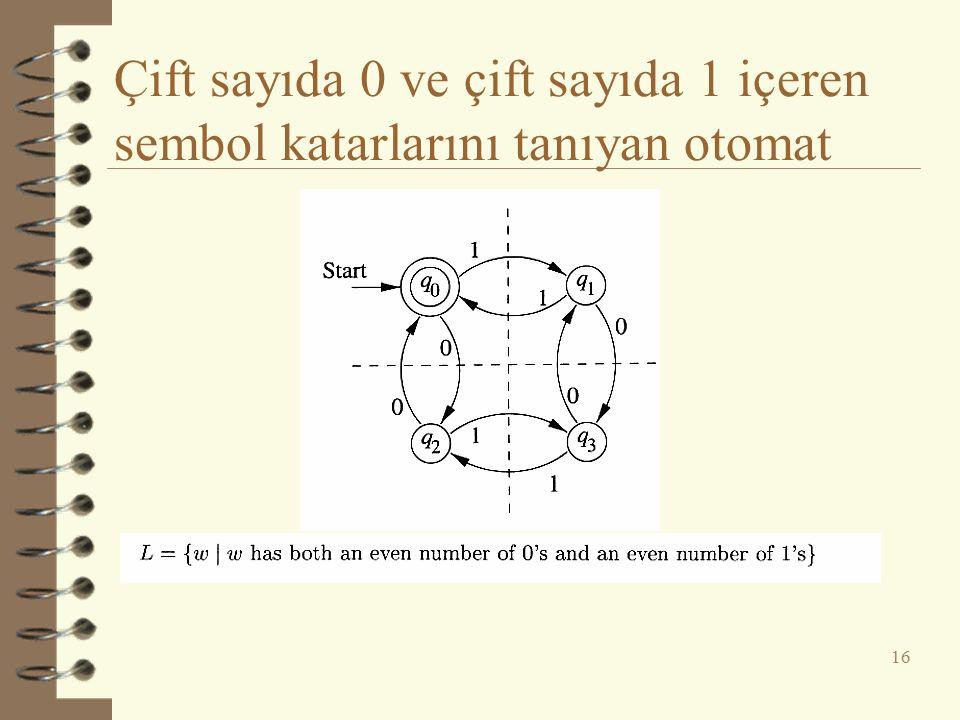 Çift sayıda 0 ve çift sayıda 1 içeren sembol katarlarını tanıyan otomat 16
