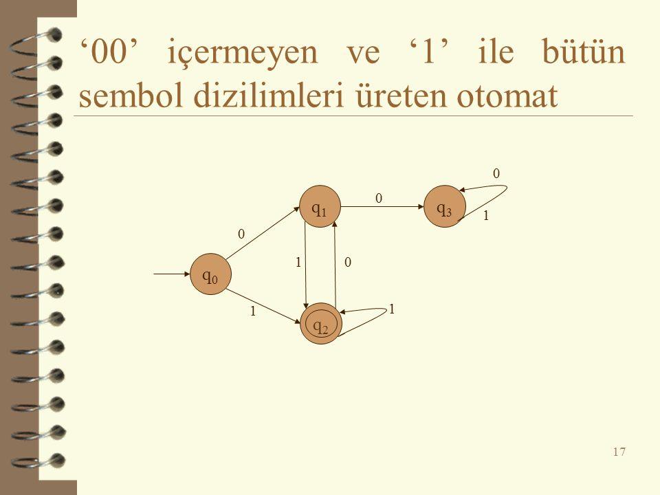 '00' içermeyen ve '1' ile bütün sembol dizilimleri üreten otomat 17 q0q0 q1q1 q2q2 q3q3 0 0 0 01 1 1 1