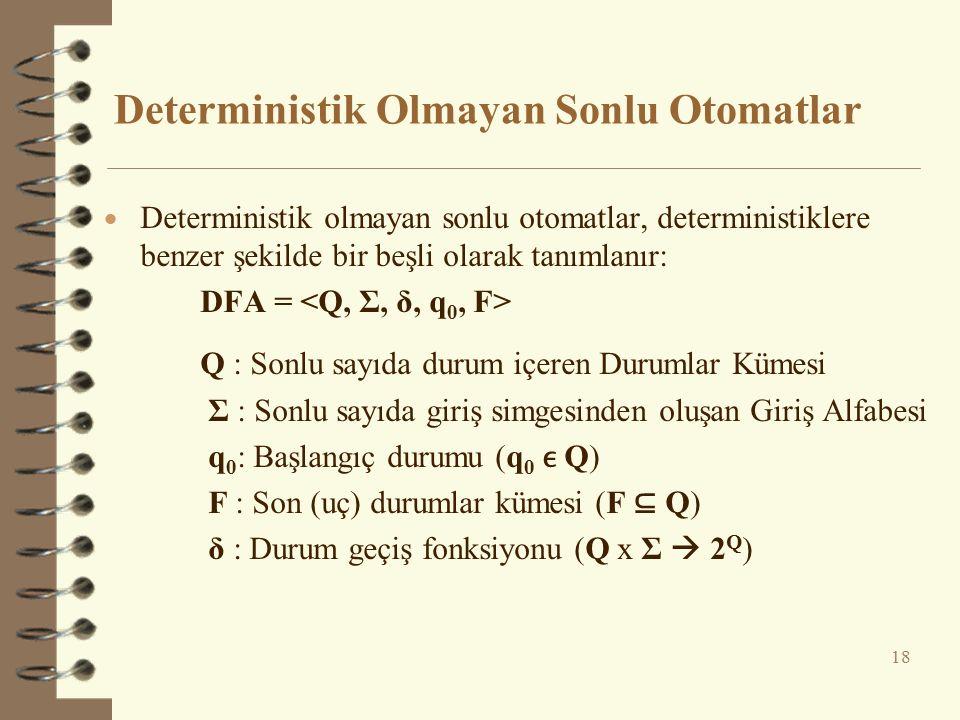 Deterministik Olmayan Sonlu Otomatlar 18  Deterministik olmayan sonlu otomatlar, deterministiklere benzer şekilde bir beşli olarak tanımlanır: DFA =
