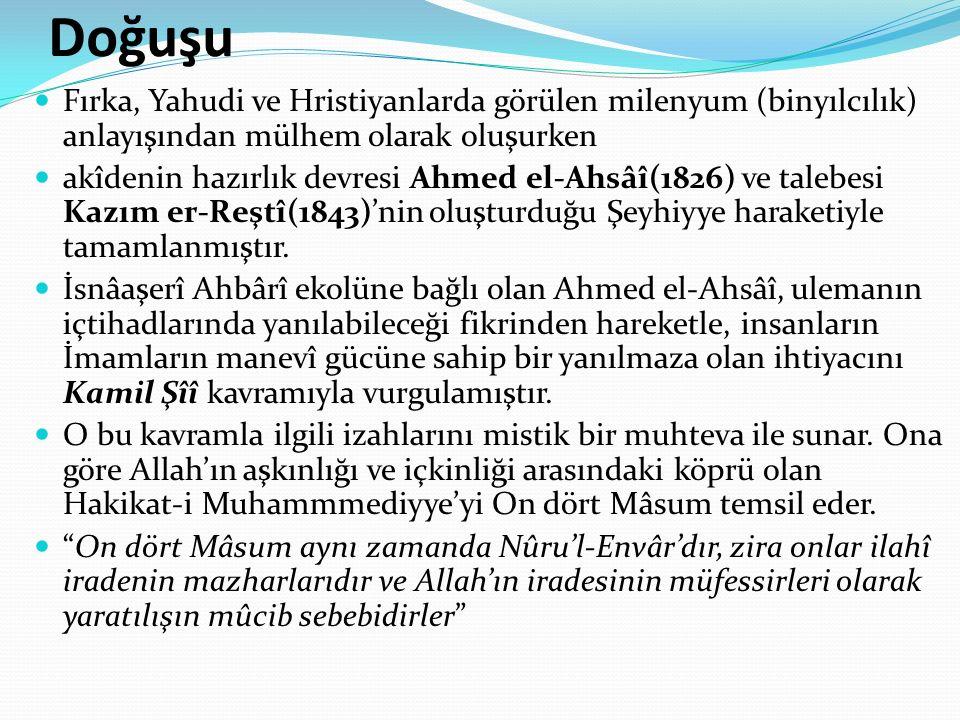 Doğuşu Fırka, Yahudi ve Hristiyanlarda görülen milenyum (binyılcılık) anlayışından mülhem olarak oluşurken akîdenin hazırlık devresi Ahmed el-Ahsâî(1826) ve talebesi Kazım er-Reştî(1843)'nin oluşturduğu Şeyhiyye haraketiyle tamamlanmıştır.