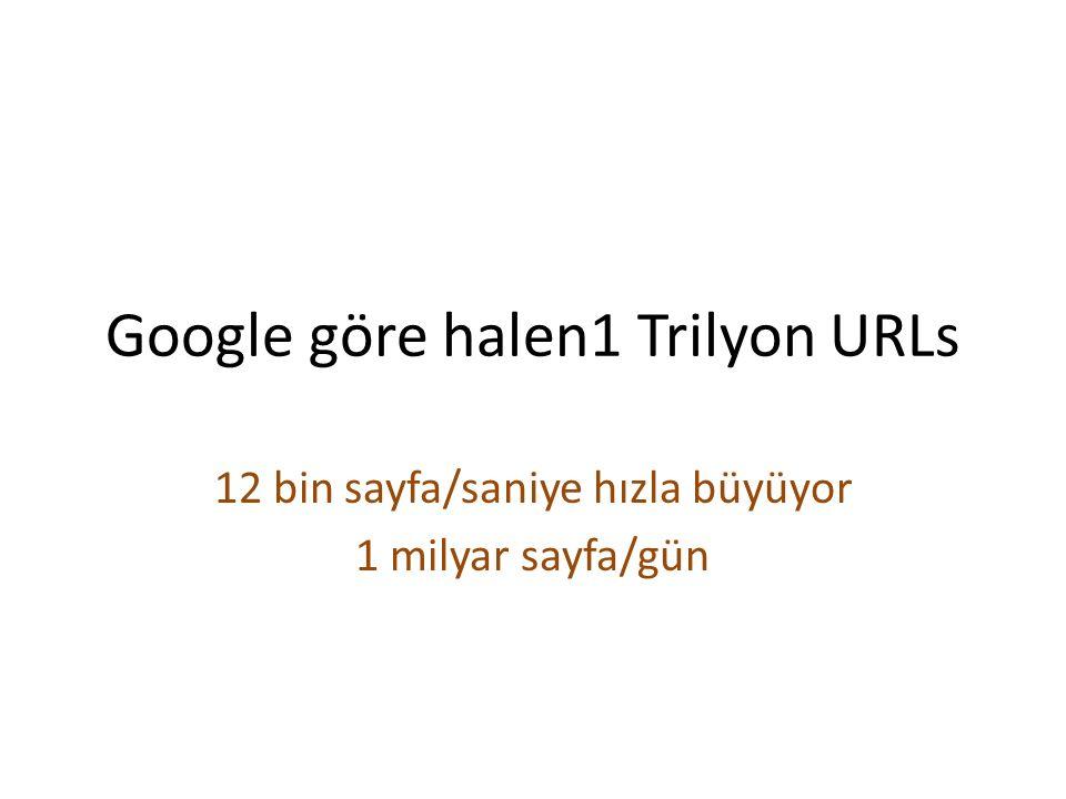 Google göre halen1 Trilyon URLs 12 bin sayfa/saniye hızla büyüyor 1 milyar sayfa/gün