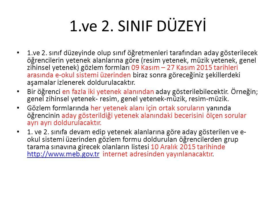 1.ve 2.SINIF DÜZEYİ 1.ve 2.