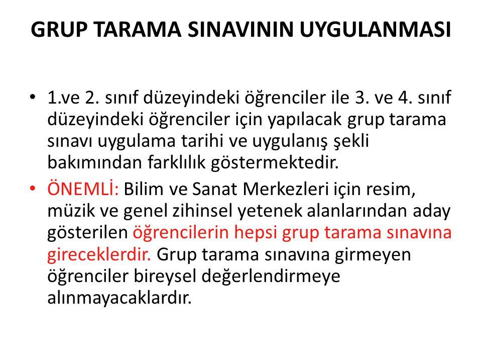 GRUP TARAMA SINAVININ UYGULANMASI 1.ve 2.sınıf düzeyindeki öğrenciler ile 3.