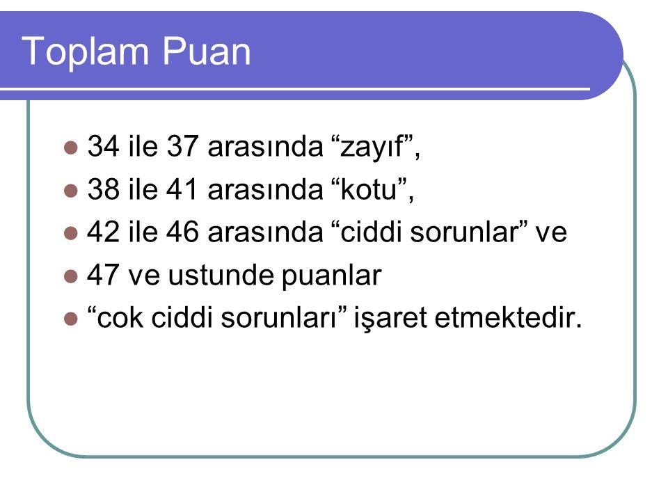 Toplam Puan 34 ile 37 arasında zayıf , 38 ile 41 arasında kotu , 42 ile 46 arasında ciddi sorunlar ve 47 ve ustunde puanlar cok ciddi sorunları işaret etmektedir.