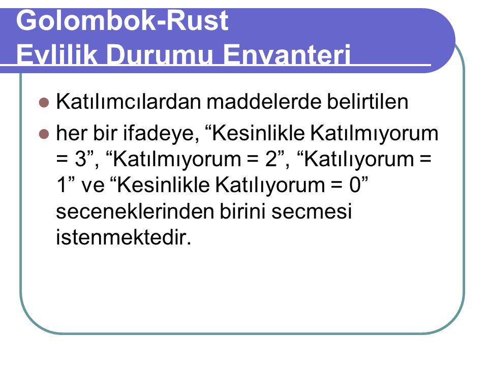 Golombok-Rust Evlilik Durumu Envanteri Katılımcılardan maddelerde belirtilen her bir ifadeye, Kesinlikle Katılmıyorum = 3 , Katılmıyorum = 2 , Katılıyorum = 1 ve Kesinlikle Katılıyorum = 0 seceneklerinden birini secmesi istenmektedir.