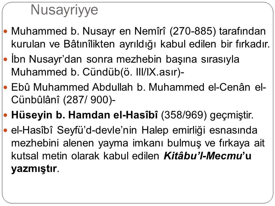 Nusayriyye/Tarihçesi Fırka Halep, Lazkiye, Cebel-i Nusayr ve Antakya bölgesinde varlığını sürdürmüş, bölgedeki diğer fırkalar gibi zaman zaman siyasî hadiselere taraf olmuştur.