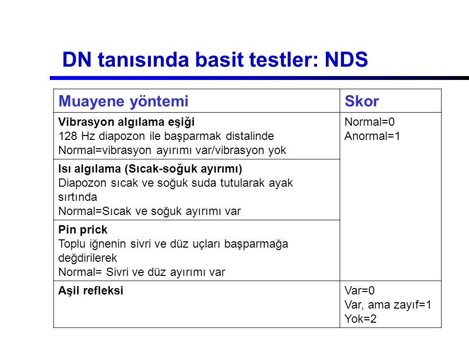 DN tanısında basit testler: NDS Muayene yöntemiSkor Vibrasyon algılama eşiği 128 Hz diapozon ile başparmak distalinde Normal=vibrasyon ayırımı var/vib