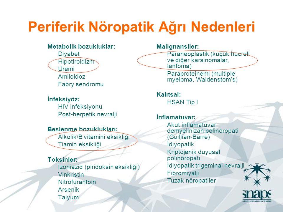 Periferik Nöropatik Ağrı Nedenleri Metabolik bozukluklar: Diyabet Hipotiroidizm Üremi Amiloidoz Fabry sendromu İnfeksiyöz: HIV infeksiyonu Post-herpet