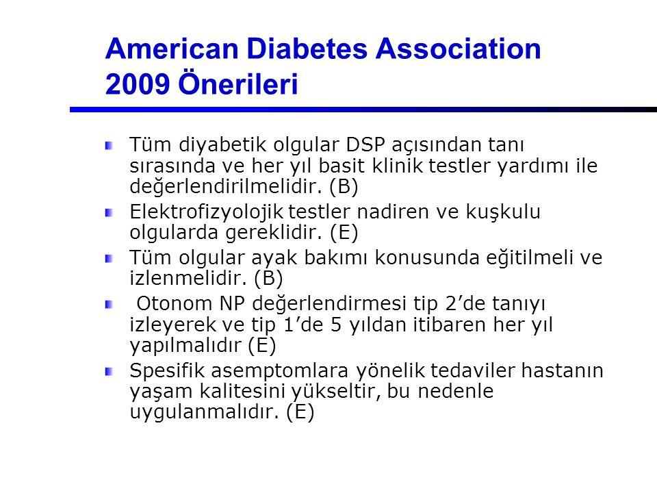 American Diabetes Association 2009 Önerileri Tüm diyabetik olgular DSP açısından tanı sırasında ve her yıl basit klinik testler yardımı ile değerlendi