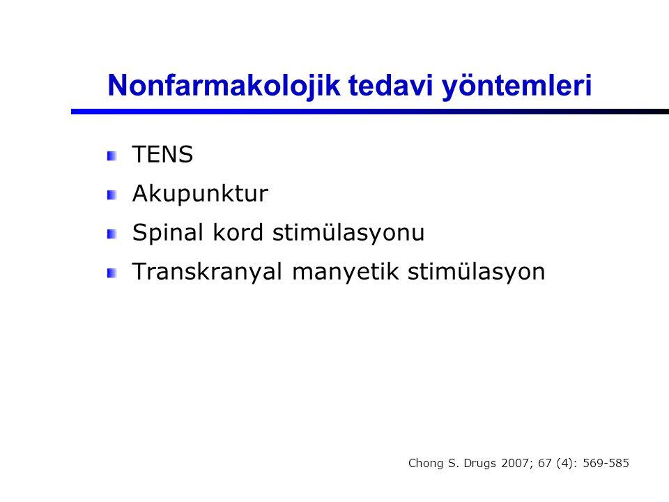 Nonfarmakolojik tedavi yöntemleri TENS Akupunktur Spinal kord stimülasyonu Transkranyal manyetik stimülasyon Chong S. Drugs 2007; 67 (4): 569-585