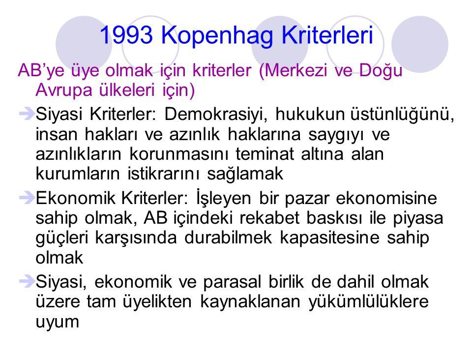 1993 Kopenhag Kriterleri AB'ye üye olmak için kriterler (Merkezi ve Doğu Avrupa ülkeleri için)  Siyasi Kriterler: Demokrasiyi, hukukun üstünlüğünü, i