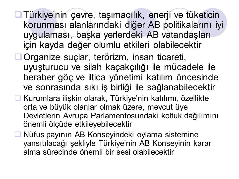  Türkiye'nin çevre, taşımacılık, enerji ve tüketicin korunması alanlarındaki diğer AB politikalarını iyi uygulaması, başka yerlerdeki AB vatandaşları