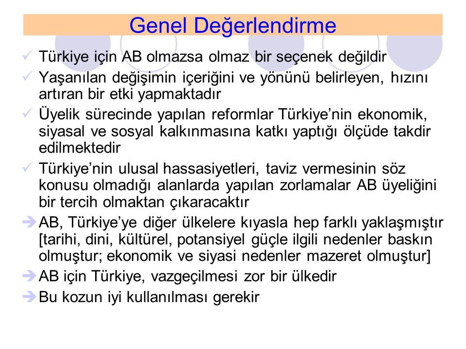 Genel Değerlendirme Türkiye için AB olmazsa olmaz bir seçenek değildir Yaşanılan değişimin içeriğini ve yönünü belirleyen, hızını artıran bir etki yap