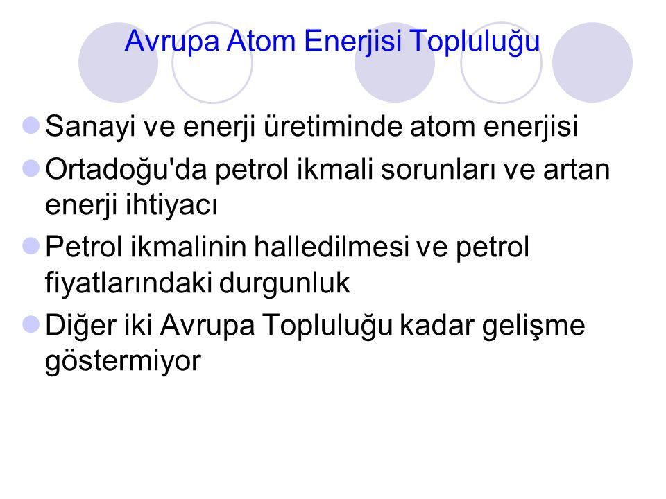 Avrupa Atom Enerjisi Topluluğu Sanayi ve enerji üretiminde atom enerjisi Ortadoğu'da petrol ikmali sorunları ve artan enerji ihtiyacı Petrol ikmalinin