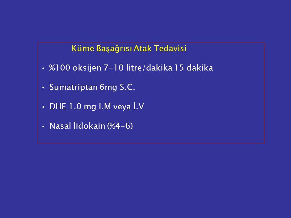 Küme Başağrısı Atak Tedavisi %100 oksijen 7-10 litre/dakika 15 dakika Sumatriptan 6mg S.C. DHE 1.0 mg I.M veya İ.V Nasal lidokain (%4-6)