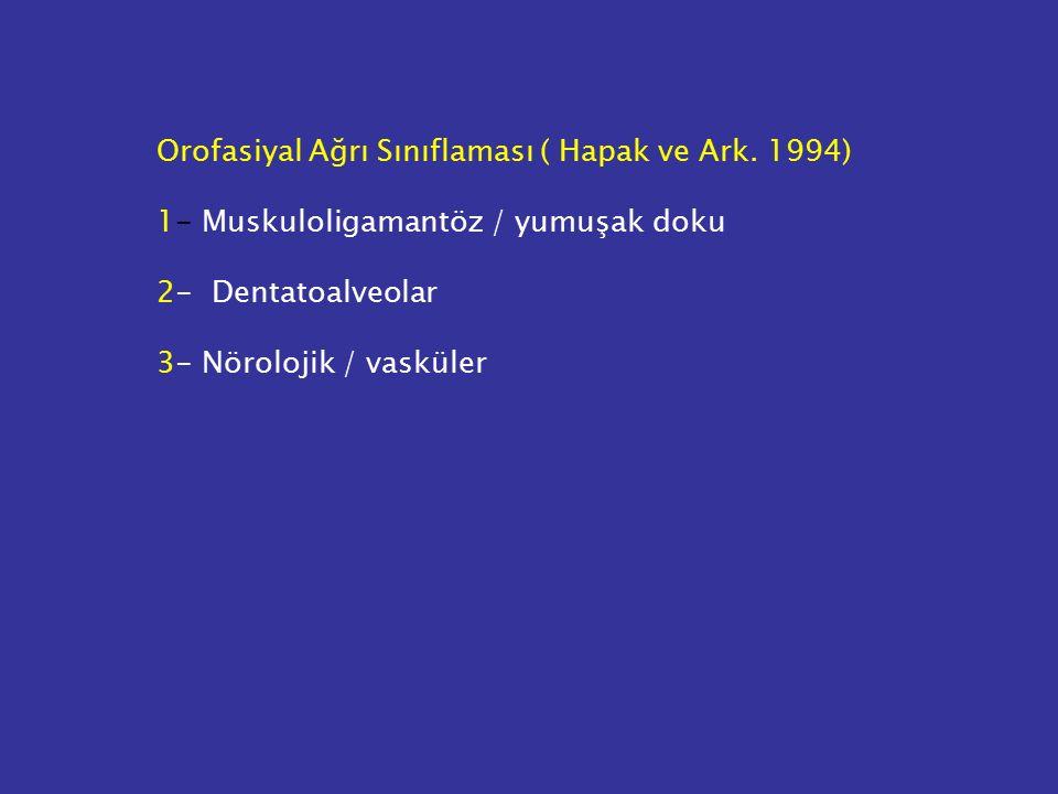 Orofasiyal Ağrı Sınıflaması ( Hapak ve Ark. 1994) 1- Muskuloligamantöz / yumuşak doku 2- Dentatoalveolar 3- Nörolojik / vasküler