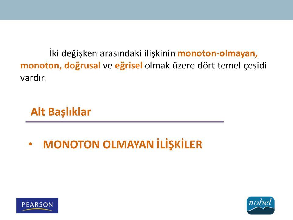 İki değişken arasındaki ilişkinin monoton-olmayan, monoton, doğrusal ve eğrisel olmak üzere dört temel çeşidi vardır.