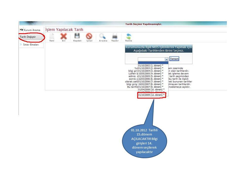 01.10.2012 Tarihli 15.dönem AÇILACAKTIR Bilgi girişleri 14. dönem seçilerek yapılacaktır