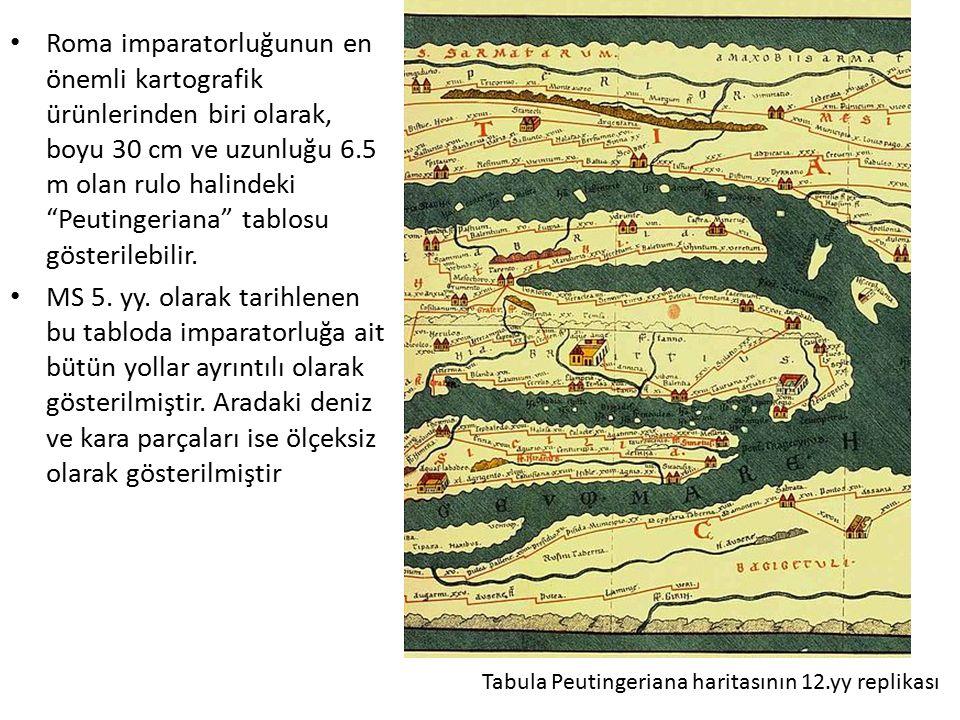 """Roma imparatorluğunun en önemli kartografik ürünlerinden biri olarak, boyu 30 cm ve uzunluğu 6.5 m olan rulo halindeki """"Peutingeriana"""" tablosu gösteri"""