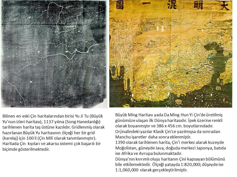 Bilinen en eski Çin haritalarından birisi Yu Ji Tu (Büyük Yu'nun izleri haritası), 1137 yılına (Song Hanedanlığı) tarihlenen harita taş üstüne kazılıd