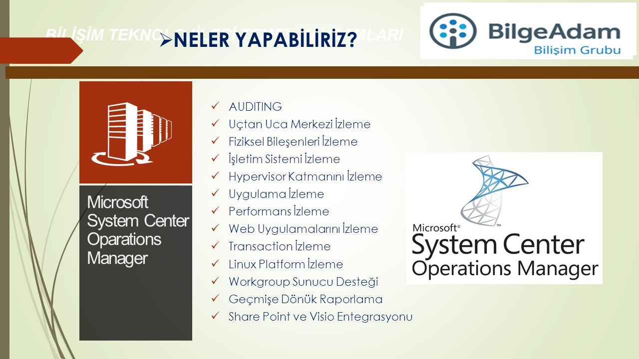 AUDITING Uçtan Uca Merkezi İzleme Fiziksel Bileşenleri İzleme İşletim Sistemi İzleme Hypervisor Katmanını İzleme Uygulama İzleme Performans İzleme Web