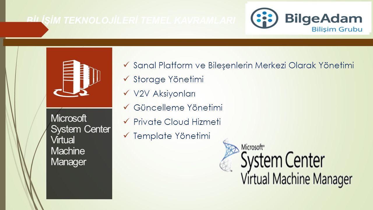 Sanal Platform ve Bileşenlerin Merkezi Olarak Yönetimi Storage Yönetimi V2V Aksiyonları Güncelleme Yönetimi Private Cloud Hizmeti Template Yönetimi