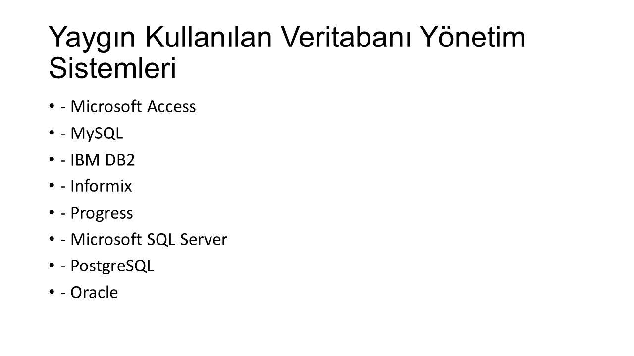 Yaygın Kullanılan Veritabanı Yönetim Sistemleri - Microsoft Access - MySQL - IBM DB2 - Informix - Progress - Microsoft SQL Server - PostgreSQL - Oracle