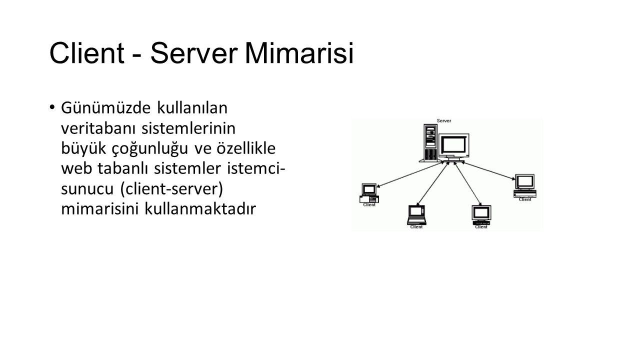 Client - Server Mimarisi Günümüzde kullanılan veritabanı sistemlerinin büyük çoğunluğu ve özellikle web tabanlı sistemler istemci- sunucu (client-server) mimarisini kullanmaktadır