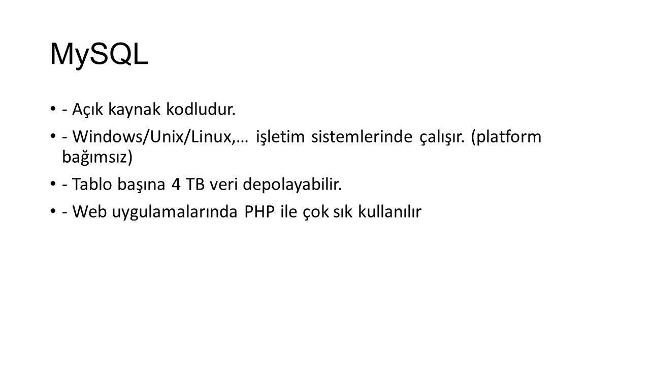 MySQL - Açık kaynak kodludur.- Windows/Unix/Linux,… işletim sistemlerinde çalışır.