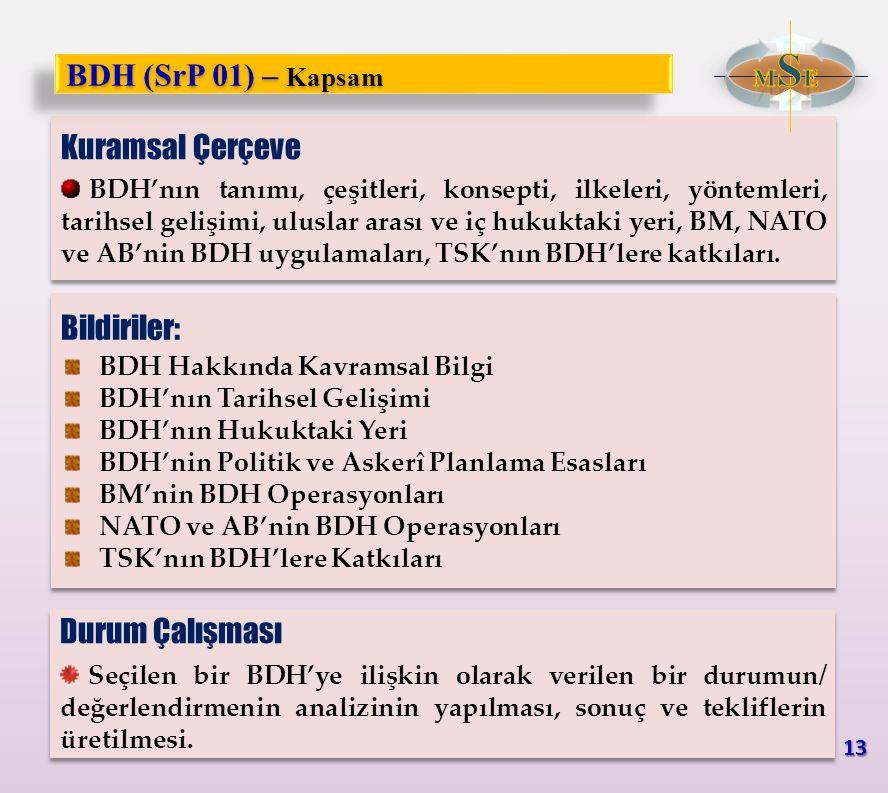 Kuramsal Çerçeve BDH'nın tanımı, çeşitleri, konsepti, ilkeleri, yöntemleri, tarihsel gelişimi, uluslar arası ve iç hukuktaki yeri, BM, NATO ve AB'nin