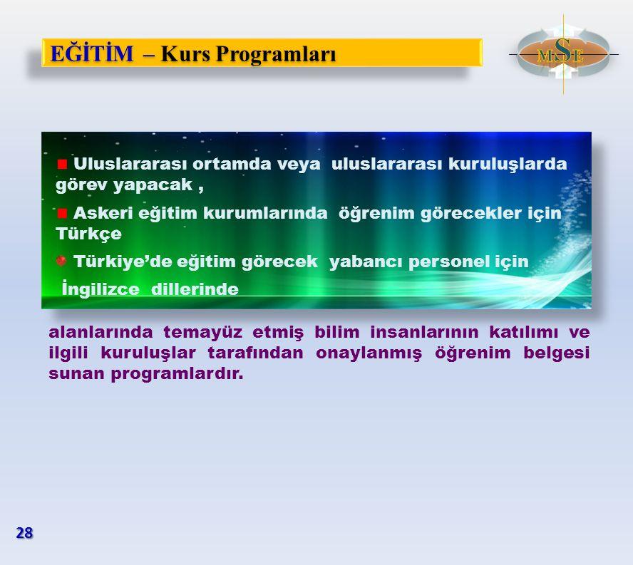 EĞİTİM – Kurs Programları Uluslararası ortamda veya uluslararası kuruluşlarda görev yapacak, Askeri eğitim kurumlarında öğrenim görecekler için Türkçe
