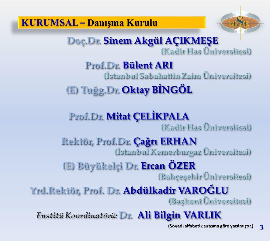 KURUMSAL – Danışma Kurulu Doç.Dr. Sinem Akgül AÇIKMEŞE Doç.Dr. Sinem Akgül AÇIKMEŞE (Kadir Has Üniversitesi) Prof.Dr. Bülent ARI (İstanbul Sabahattin